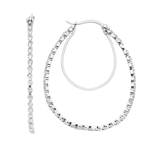 Sterling Silver Lab-Created White Sapphire Double Teardrop Earrings