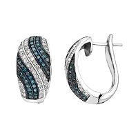 Sterling Silver 3/4 Carat T.W. Blue & White Diamond Half Hoop Earrings