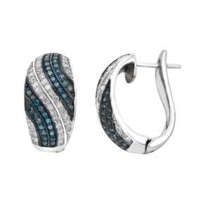 Sterling Silver 3/4 Carat T.W. Blue & White Diamond Half Hoop Earrings