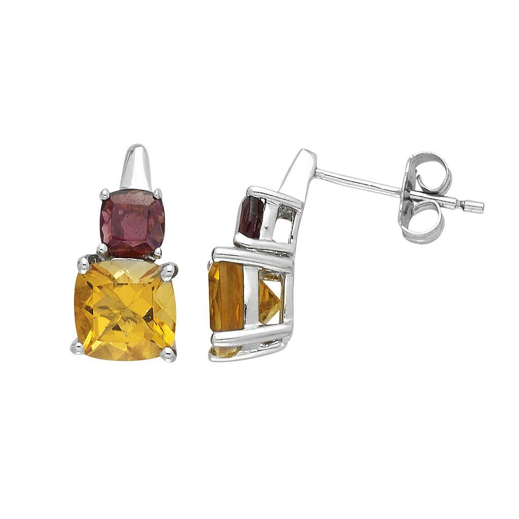 Sterling Silver Citrine & Garnet Drop Earrings