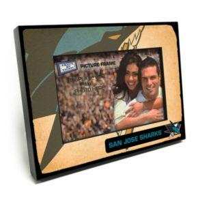 """San Jose Sharks Vintage 4"""" x 6"""" Wooden Frame"""