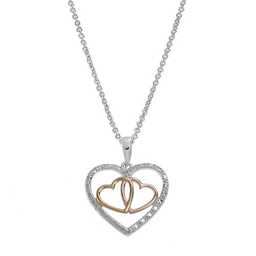 Delicate Diamonds Tri-Tone Sterling Silver Triple Heart Pendant