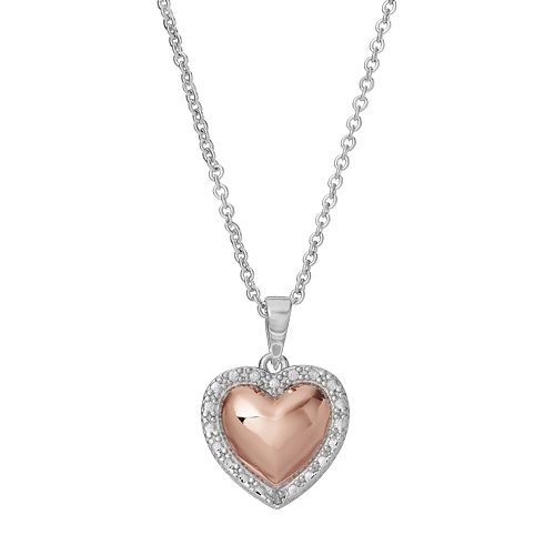 Delicate Diamonds Two Tone Sterling Silver Heart Pendant Necklace