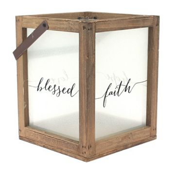 Manor Lane Sentiments Frosted Glass Candle Lantern
