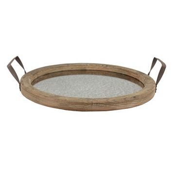 Manor Lane Round Distressed Wood Mirror Tray