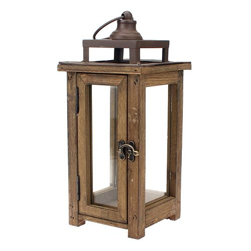 Manor Lane Distressed Wood Candle Lantern