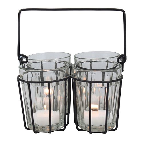 Manor Lane Cut Glass Wire Tealight Holder 5-piece Set