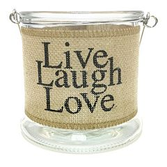 Manor Lane 'Live Laugh Love' Small Burlap Wrapped Glass Lantern