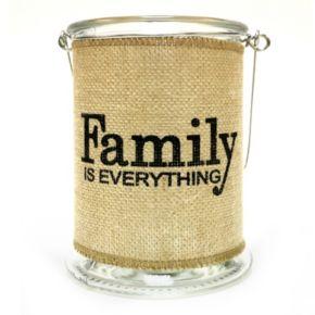 "Manor Lane ""Family"" Large Burlap Wrapped Glass Lantern"