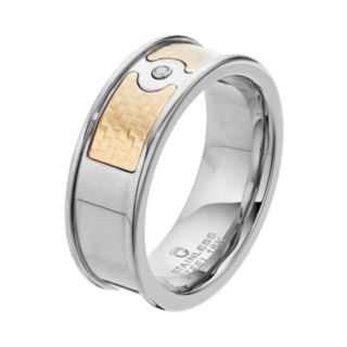 Men's Two Tone Stainless Steel Diamond Accent Ring