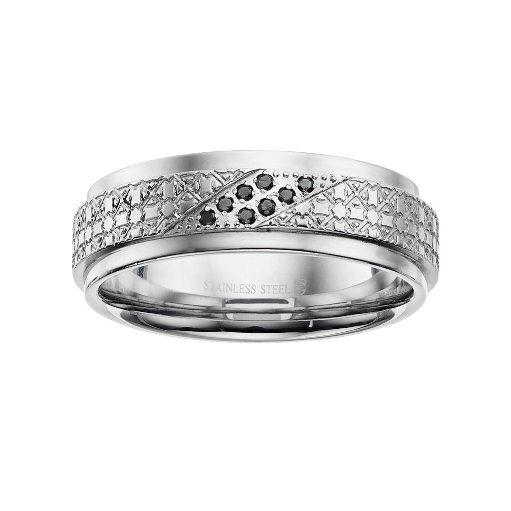 Men's Stainless Steel Black Diamond Accent Textured Ring