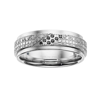 Men's Stainless Steel Black Diamond Accent Textured Ring