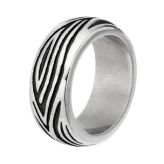 Men's Stainless Steel Grooved Ring