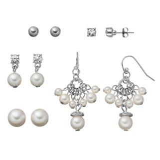 Simulated Pearl Stud & Drop Earring Set