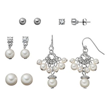Simulated Pearl Stud & Drop Earring Set