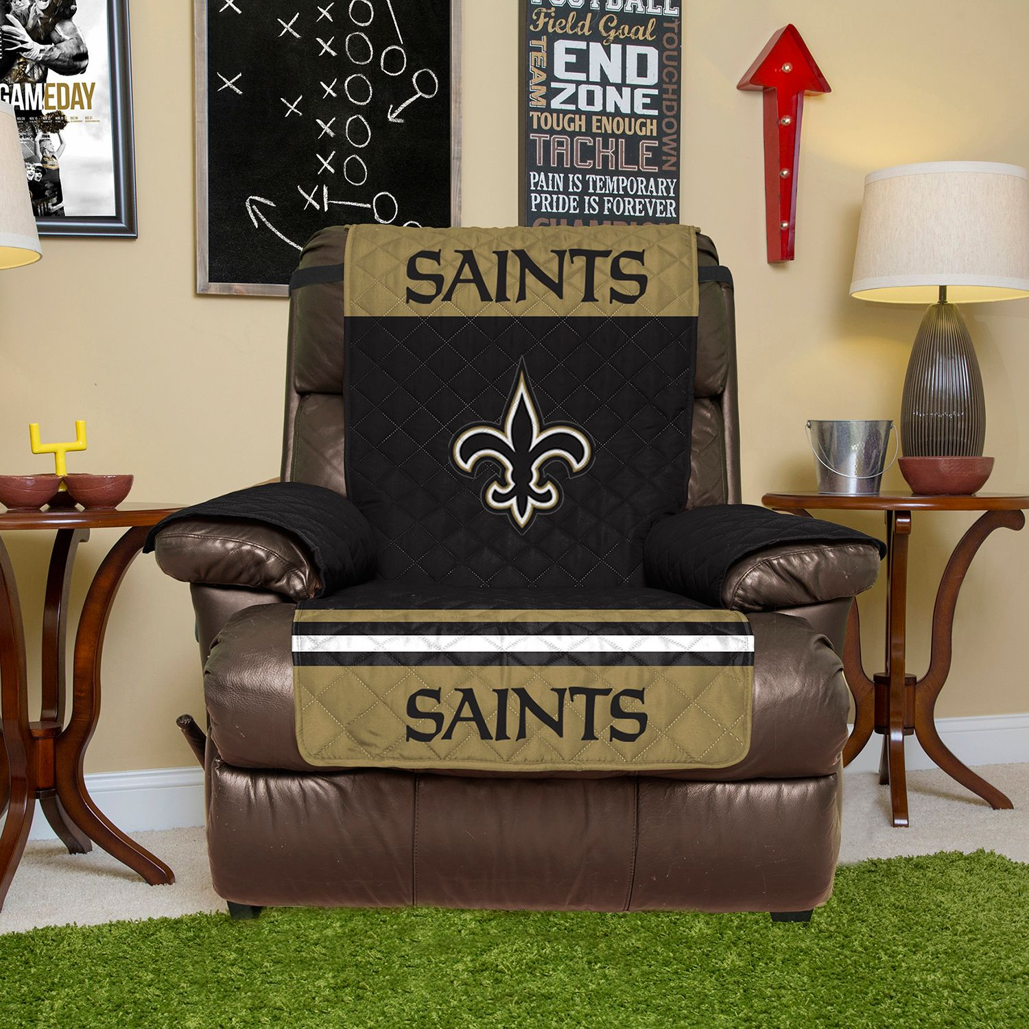 Awesome New Orleans Saints Quilted Recliner Chair Cover