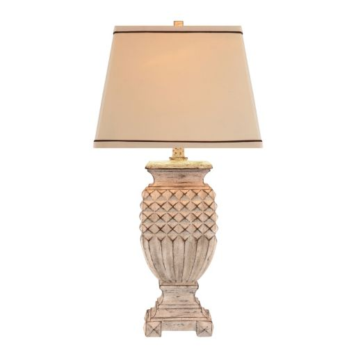 Catalina Antique White Distressed Table Lamp