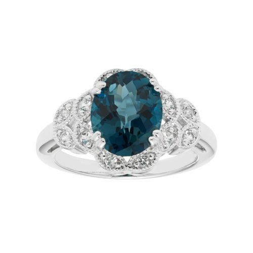 Sterling Silver London Blue Topaz & Lab-Created White Sapphire Scalloped Ring