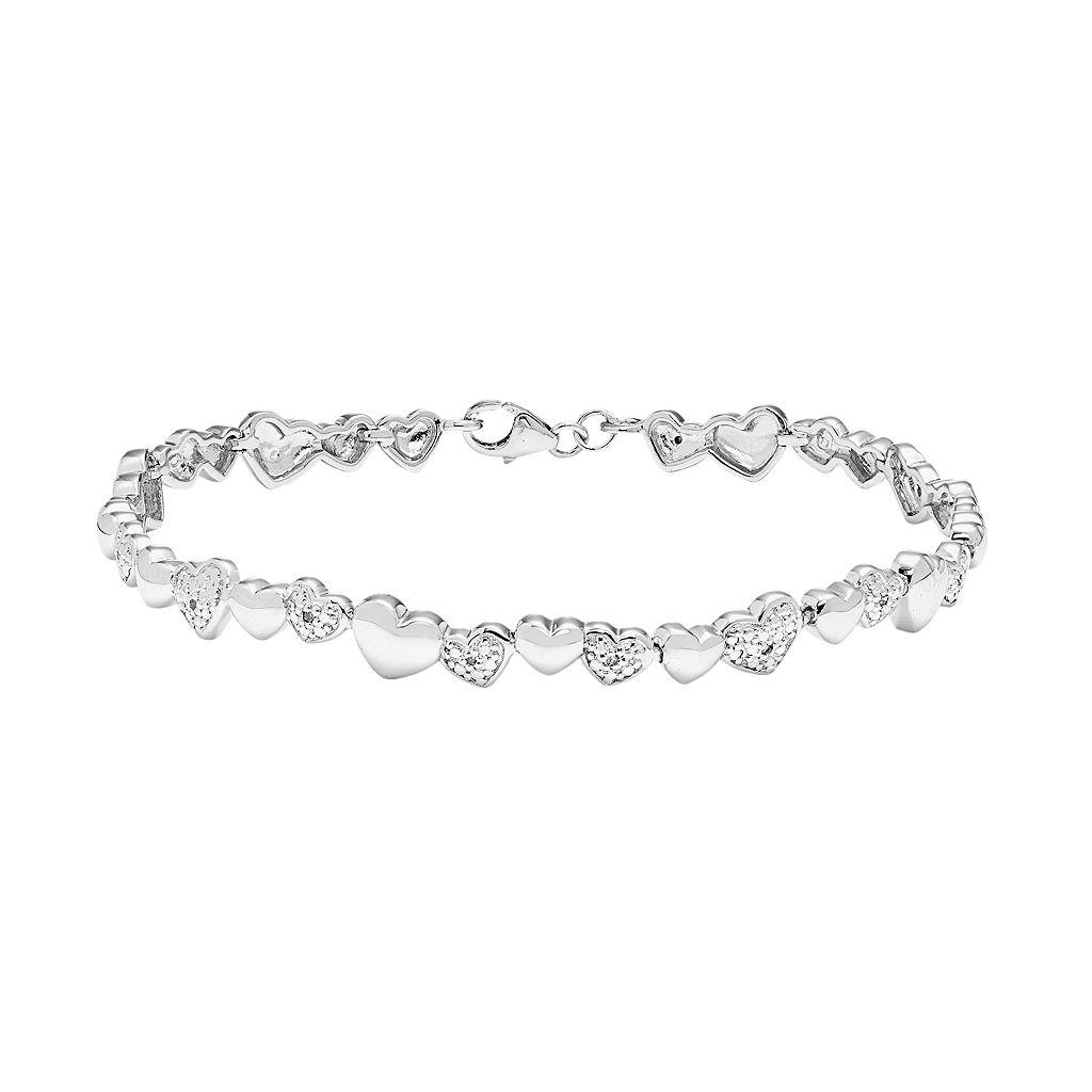Sterling Silver 1/5 Carat T.W. Diamond Heart Bracelet