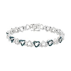 Sterling Silver 1/4 Carat T.W. Blue & White Diamond Heart Bracelet