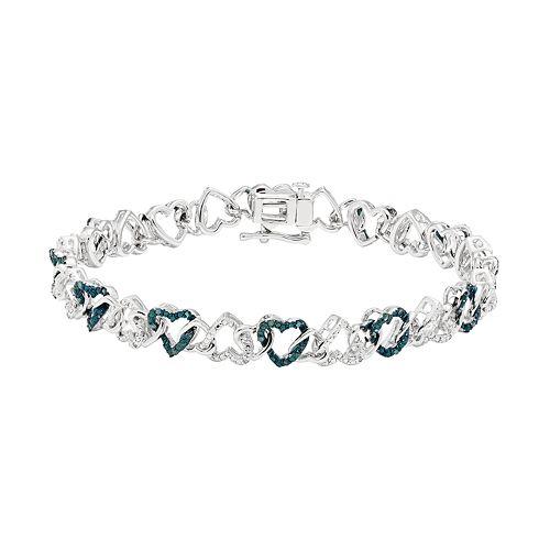 Sterling Silver 1/4 Carat T.W. Blue & White Diamond Heart Bracelet