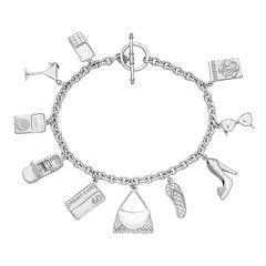 Sterling Silver Cosmpolitan Charm Bracelet
