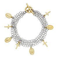 Two Tone Sterling Silver Cross & Virgin Mary Charm Bracelet