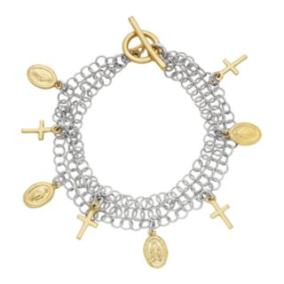 Two Tone Sterling Silver Cross & Virgin Mary Charm Bracelet