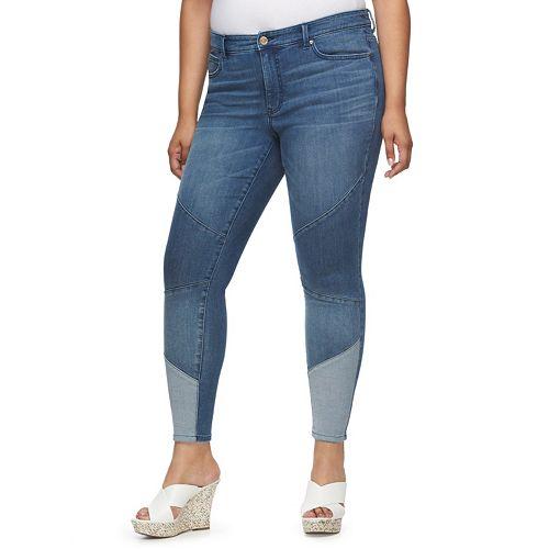 7f643faec26 Plus Size Jennifer Lopez Colorblock Skinny Jeans