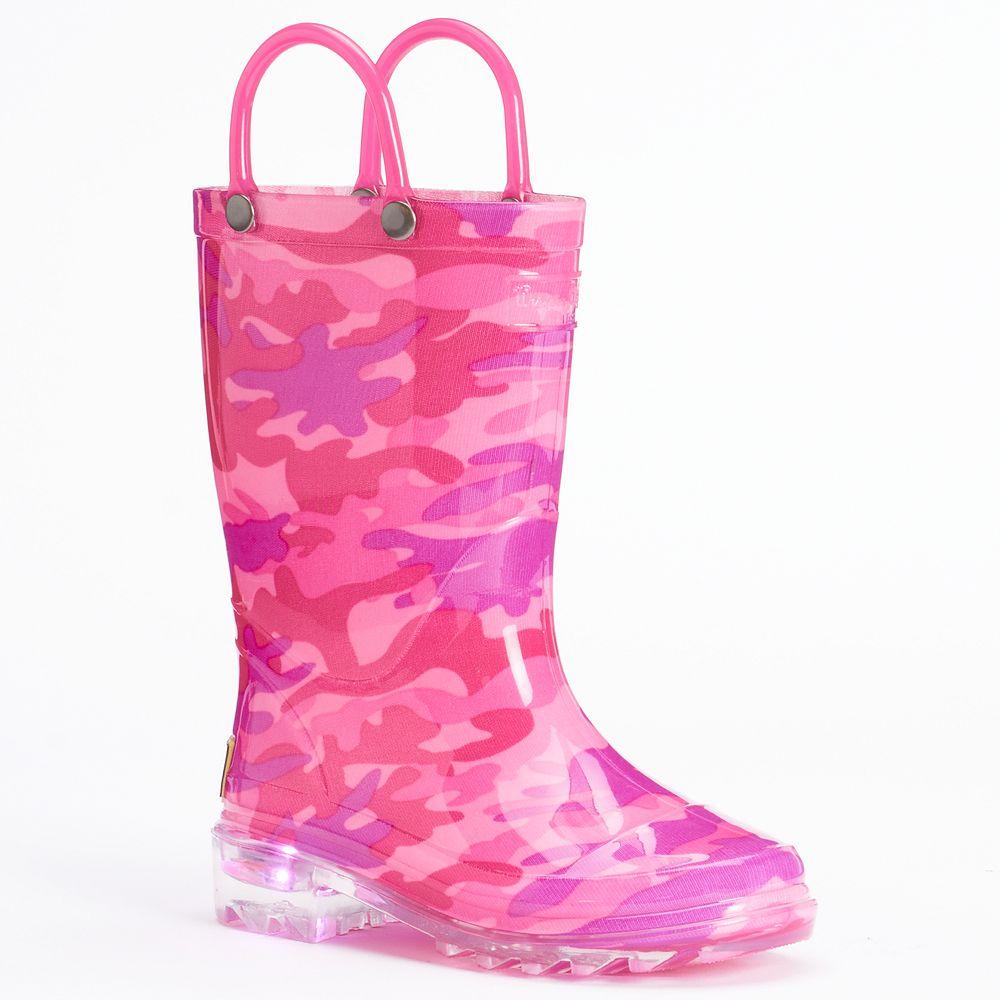 Western Chief Neo Camo Girls' Light-Up Waterproof Rain Boots