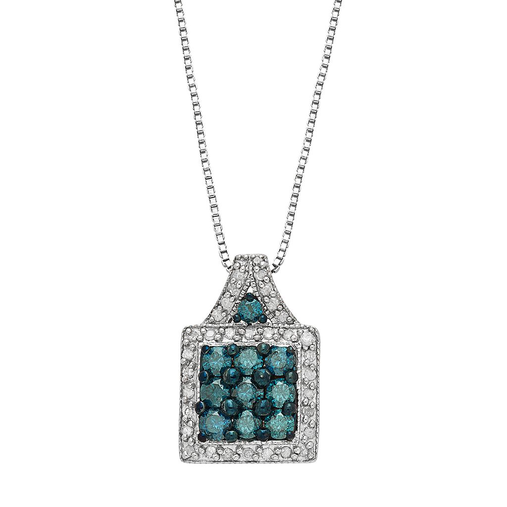 Sterling Silver 1 Carat T.W. Blue & White Diamond Pendant Necklace