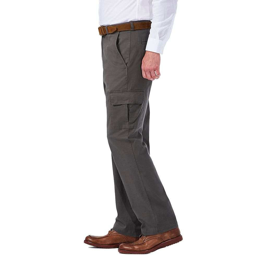 Men's Haggar Flat-Front Stretch Comfort Cargo Expandable Waist Pants