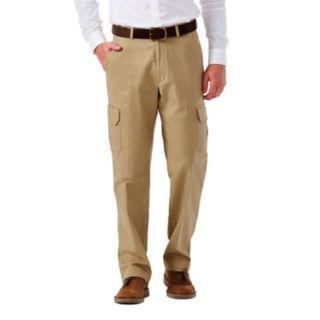 Men's Haggar Flat-Front Stretch Comfort Cargo Expandable Waist Pants