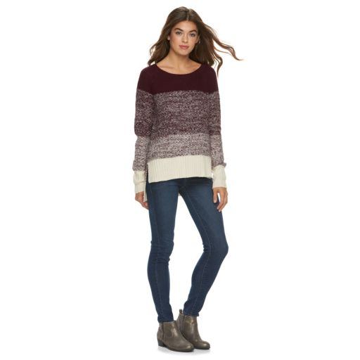 Juniors' Cloud Chaser Vented High-Low Sweater
