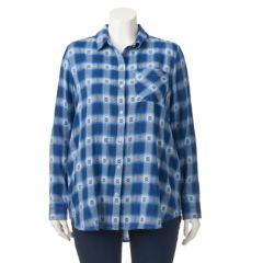 Juniors' Plus Size Mudd® Plaid Tunic Shirt