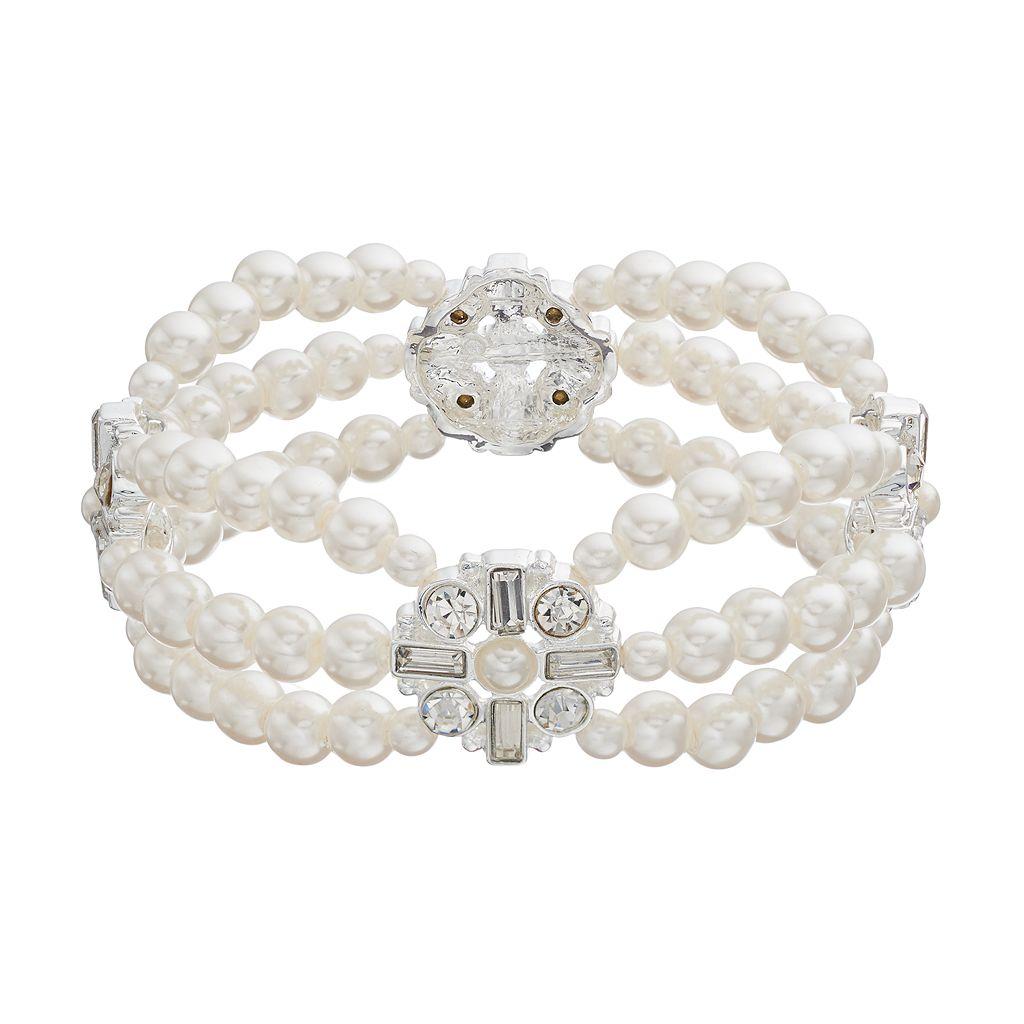 Simulated Pearl Medallion Multi Strand Stretch Bracelet