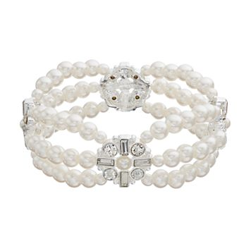 Simulated Pearl Medallion Multi Strand Stretch Bracelet