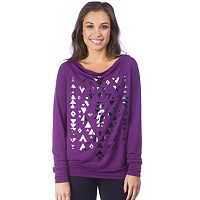 Women's PL Movement by Pink Lotus Foil Graphic Boatneck Sweatshirt
