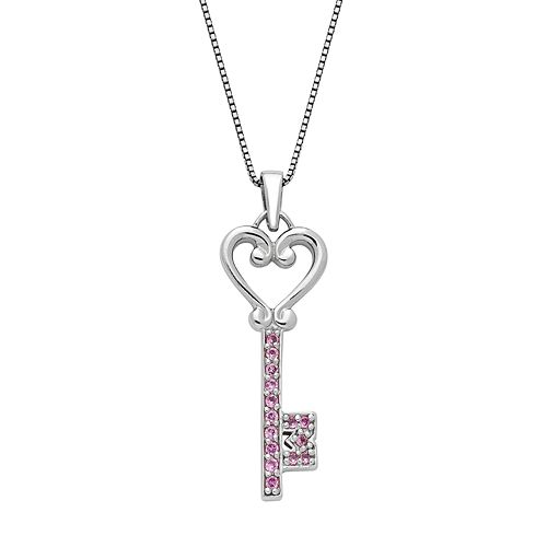 Sterling Silver Lab-Created Pink Sapphire Heart & Key Pendant
