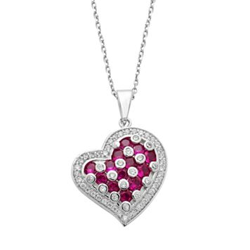 Sterling Silver Lab-Created Ruby & Cubic Zirconia Heart Pendant