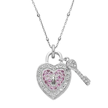 Sterling Silver Lab-Created Pink & White Sapphire Heart & Key Pendant