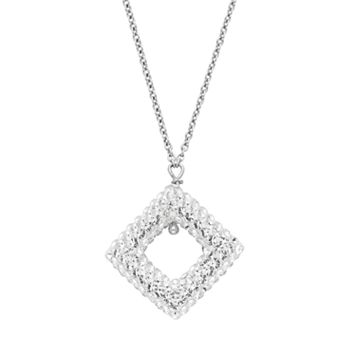 Sterling Silver Crystal Kite Pendant Necklace