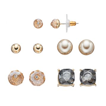 Faceted Stone & Ball Stud Nickel Free Earring Set