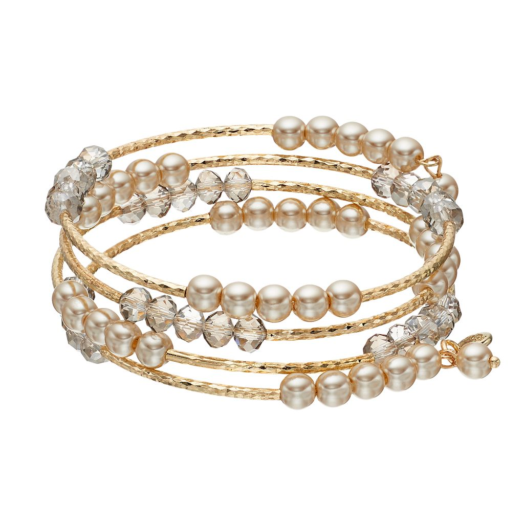 Simulated Pearl Beaded Coil Bracelet