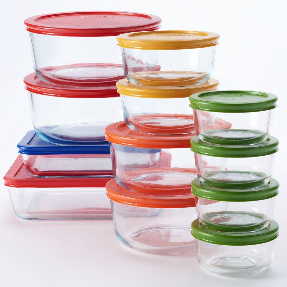 Pyrex 24 Pc Storage Set With Color Lids