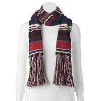 MUK LUKS Striped Fringe Scarf