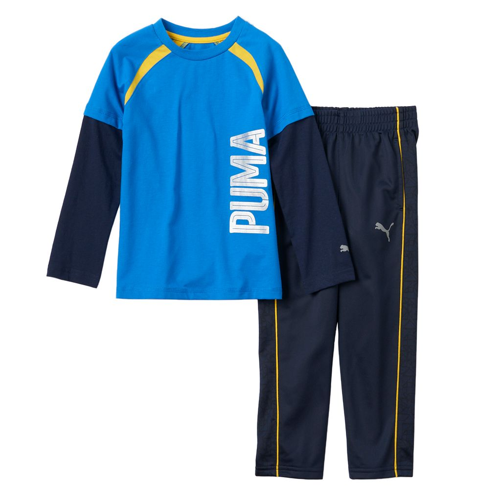 Boys 4-7 PUMA Mock-Layer Logo Tee & Pants Set