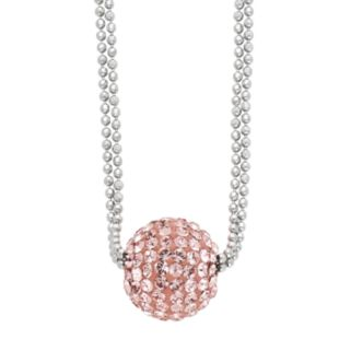 Sterling Silver Crystal Ball Pendant Necklace