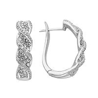Diamond Essence Sterling Silver Crystal Swirl U-Hoop Earrings