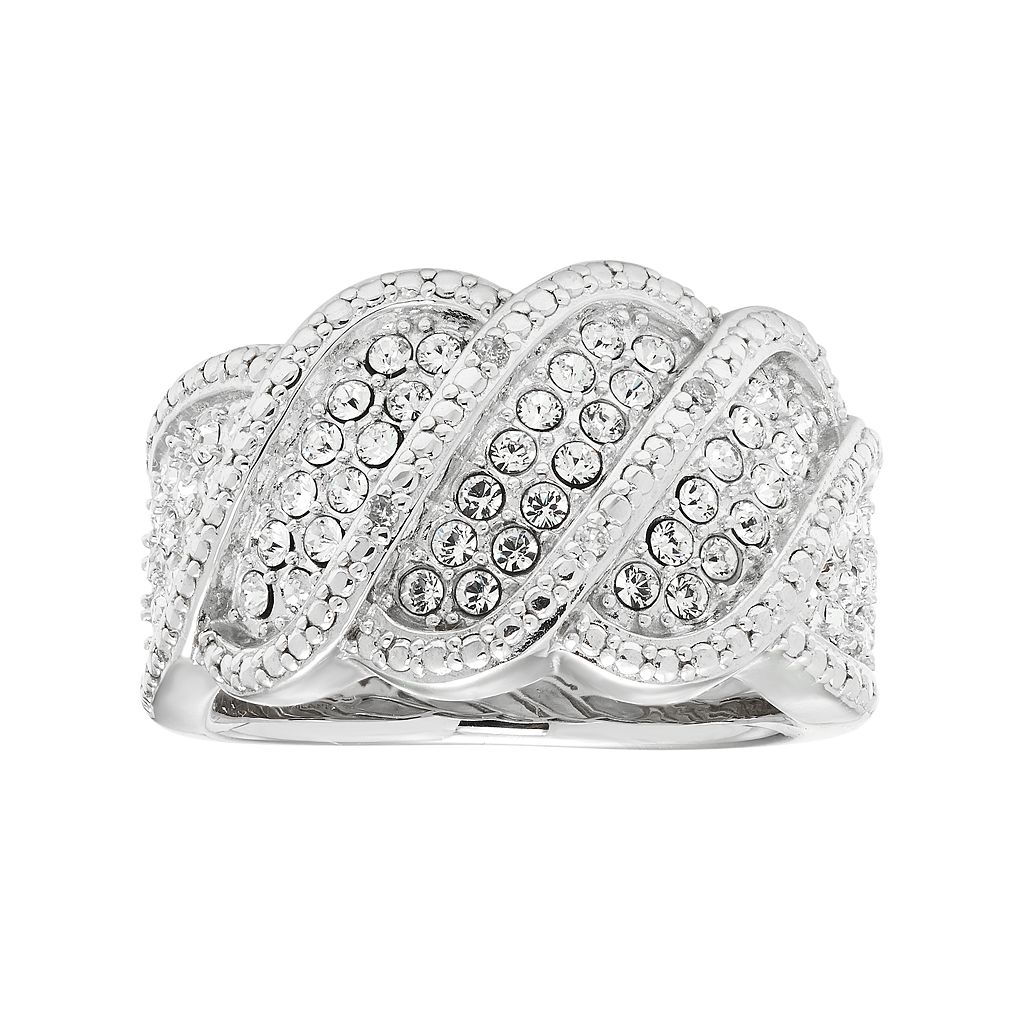 Diamond Essence Sterling Silver Crystal Wave Ring